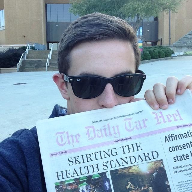Although it has nothing do with the column itself, here is me with a copy of UNC's student newspaper. Go Heels!