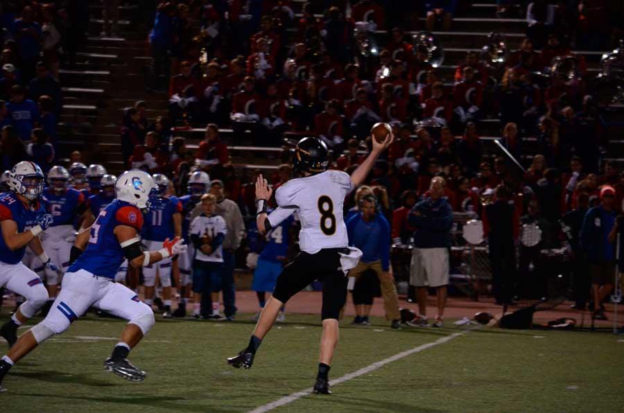 Quarterback Connor Desch throws a pass against Cherry Creek on Thursday night.