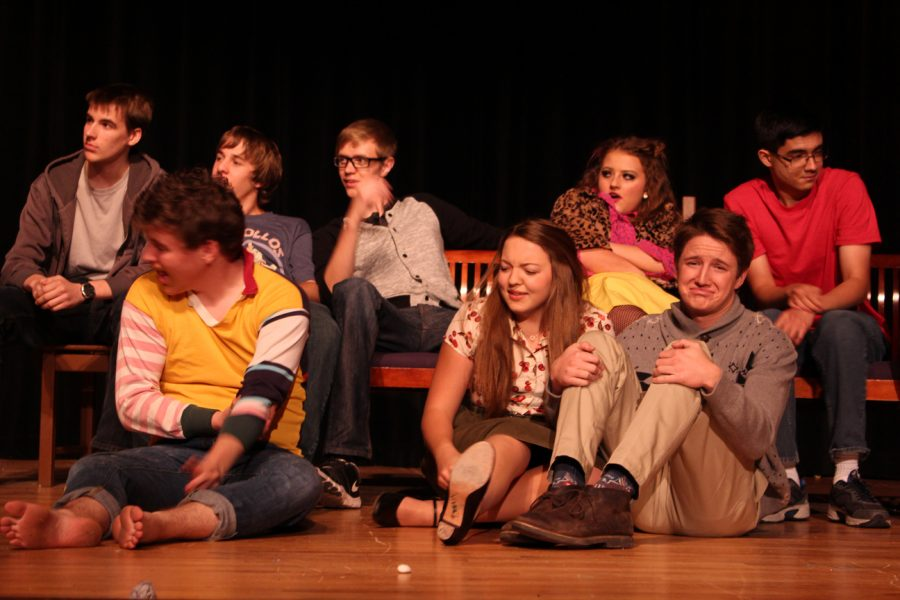 The Herdmans (Caroline Riley, Jordan Chandler, Matthew Parone, David Carroll, Blake Francis) causing mischief for Alice (Carly Broady) and Charlie (Jack Wachtel)