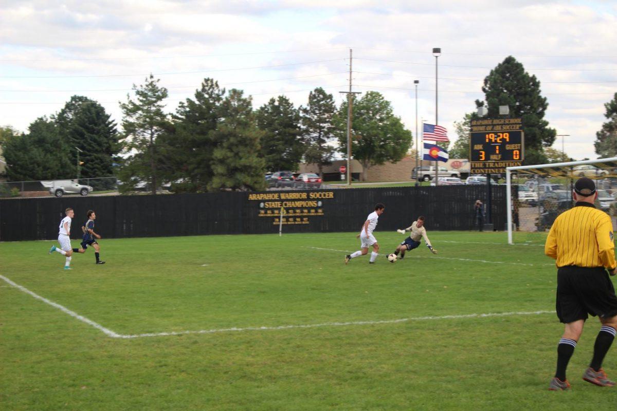 Arapahoe attempts to overtake Mullen's goalie