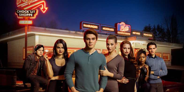 Above is  photo of all of the main characters. From left to right Jughead, Veronica, Archie, Betty, Cheryl, Josie and Kevin. Riverdale Season 2 premieres October 11. Photo from Warnerbros.com.
