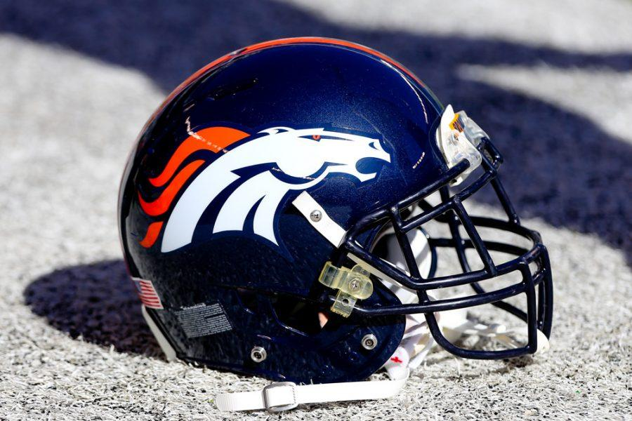 12 OCT 2014: Denver Broncos Helmet on the field prior to the game between the Denver Broncos and the New York Jets played at MetLife Stadium in East Rutherford,NJ. The Denver Broncos defeated the New York Jets 31-17.